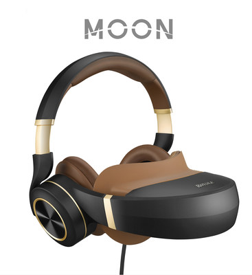 The award-winning Moon 3D Virtual Mobile Theater, designed and engineered for movies, gaming, and more, combines two Full-HD 1080p AMOLED displays at over 3000ppi resolution that simulate a giant curved screen with stereoscopic 3D, and hi-fidelity active noise-cancelling headphones.