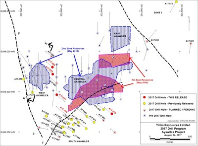 Figure 1. Ayawilca 2017 drill hole map showing 2016 Mineral Resource boundaries (hatched) (CNW Group/Tinka Resources Limited)