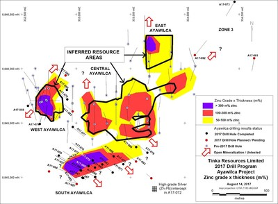 Figure 2. Plan of Zinc grade versus thickness (m% Zn) for Ayawilca drill hole (CNW Group/Tinka Resources Limited)