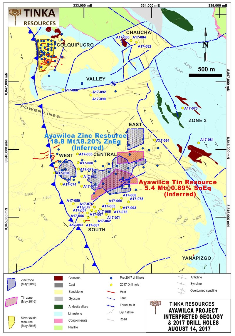 Figure 4. Geological map highlighting all 2017 drill holes to date & prospective areas (CNW Group/Tinka Resources Limited)