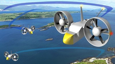 Sky Hopper Multi Hop.   Acting as a mid-mass logistics carrier, the unmanned electrically powered Sky Hopper can service multiple destinations in difficult to access areas such as this coastal archipelago.  Combined with locally owned aero-parks, the Sky Hopper system offers a way of developing the economies of remote areas by linking them to each other and larger settlements. (PRNewsfoto/Sky Hopper project)
