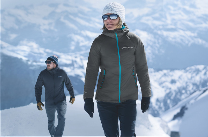 Caroline George, Eddie Bauer Guide, wears Eddie Bauer's new EverTherm Down Jacket