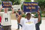 Members of the American Federation of Government Employees from Winston-Salem, N.C., protest proposals that would harm veterans' care.