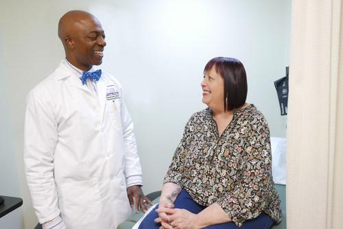 Cedric Olivera, MD, with patient Barbara Sampayo, whose life changed for the better after pelvic prolapse surgery at NYU Langone Hospital – Brooklyn.