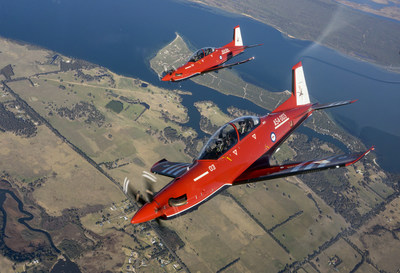 Australia's Chief of Air Force pilots a PC-21 aircraft taking his first PC-21 in-service flight in East Sale, Australia, to mark the significant milestone for the AIR 5428 Pilot Training System. [Photo credit: Australia Department of Defence]