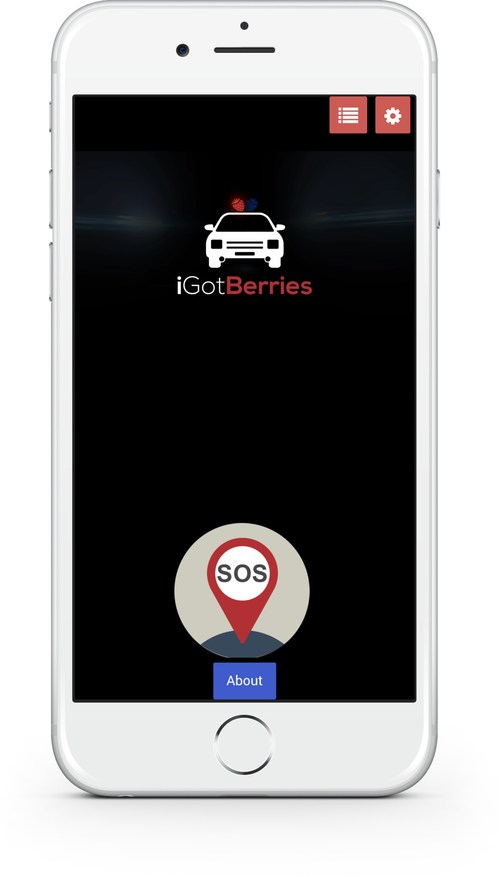 iGotBerries App Homescreen. Hit the SOS Button if pulled-over by the police.