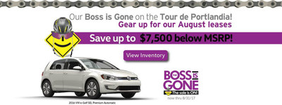 Capistrano Volkswagen's boss went to the Tour de Portlandia, and while he's away, the dealership is running their Boss is Gone Sale.
