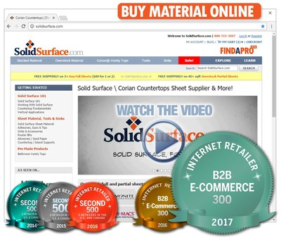 Award winning SolidSurface.com offers overstock and premium material to contractors and the public online