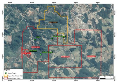 Figure #2 - The recently acquired Mineral Exploration License increases the total registered area of the Pilar Mine License area by 15% (436.62 hectares). (CNW Group/Jaguar Mining Inc.)