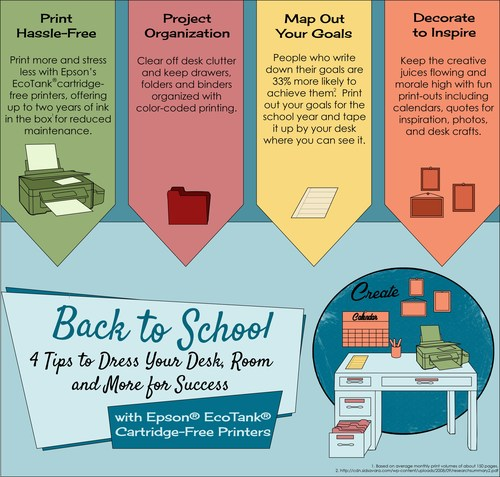 Dress your desk, room and more for success this back-to-school season with Epson EcoTank cartridge-free printers.