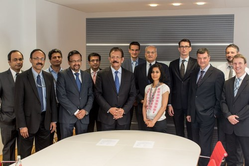 IBS Software and Lufthansa Cargo AG Teams at the signing ceremony in Frankfurt (PRNewsfoto/IBS Software Services)