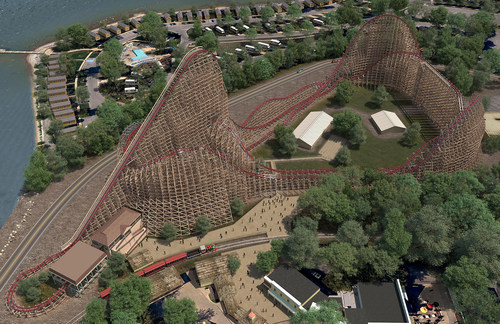 """Cedar Point in Sandusky, Ohio introduces Steel Vengeance, the world's first """"hyper-hybrid"""" roller coaster. Combining smooth steel track atop a wooden support structure, the roller coaster breaks a total of 15 combined roller coaster and amusement park records. Steel Vengeance will make its debut in May, 2018."""