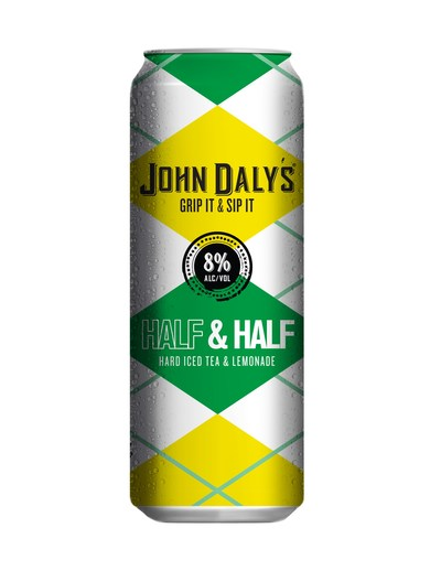 John Daly's New Grip it and Sip it Half & Half is in stores now nationwide. This is one of two flavors rolled out recently as part of the PGA Legend's partnership with Phusion Projects. The classic cocktail bearing John Daly's name comes in ready-to-drink 16 oz. cans and is made of alcohol, real black tea and lemonade.