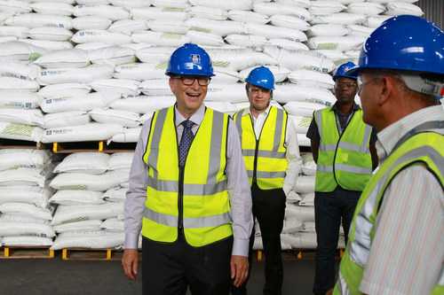 Philanthropist BILL GATES toured a new fertilizer terminal in the port of Dar es Salaam, run by Yara International, an agriculture products company. Gates was accompanied by managing director ALEXANDRE MACEDO. ''If you care about the poorest, you care about agriculture,'' Gates said. According to the World Bank, agriculture is the primary economic activity for 80 percent of Tanzania's population.