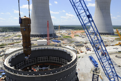 A 1.4 million-pound steam generator placed for Plant Vogtle Unit 3 in Georgia. Steam generators, measuring nearly 80 feet long, are heat exchangers used to convert water into steam using the heat produced in a nuclear reactor core.