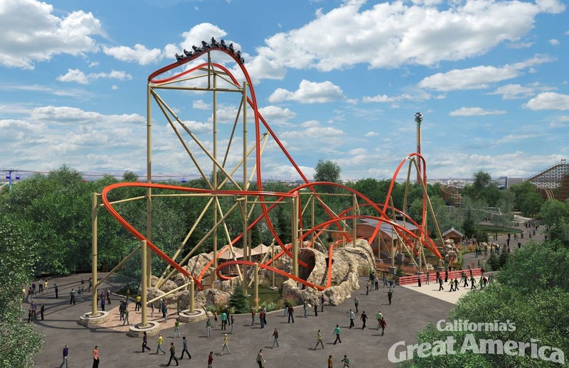The new RailBlazer roller coaster at California's Great America will be the first coaster of its kind on the West Coast featuring a single rail track throughout; the design requires the rider to straddle the rail, creating an extremely low center of gravity that amplifies every move and enables more dynamic turns and rotations than have ever been possible on a coaster. With an eight-passenger single file train hugging the rail, the coaster will give riders an unobstructed view of the ground.
