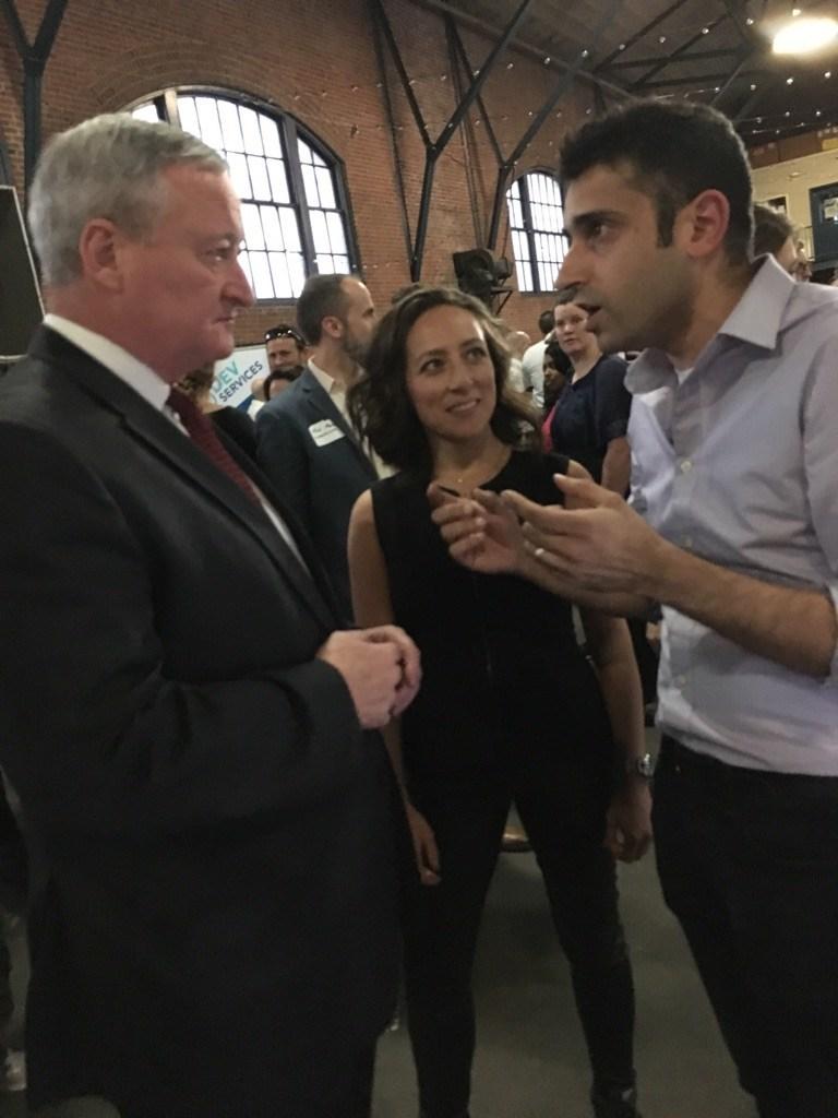 Alana Bly and Raavi Iqbal speaking with the Mayor of Philadelphia