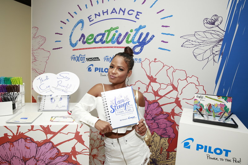 Christina Milian showing her Strength and getting Creative with Pilot's new Frixion Erasable pens. (PRNewsfoto/GBK)