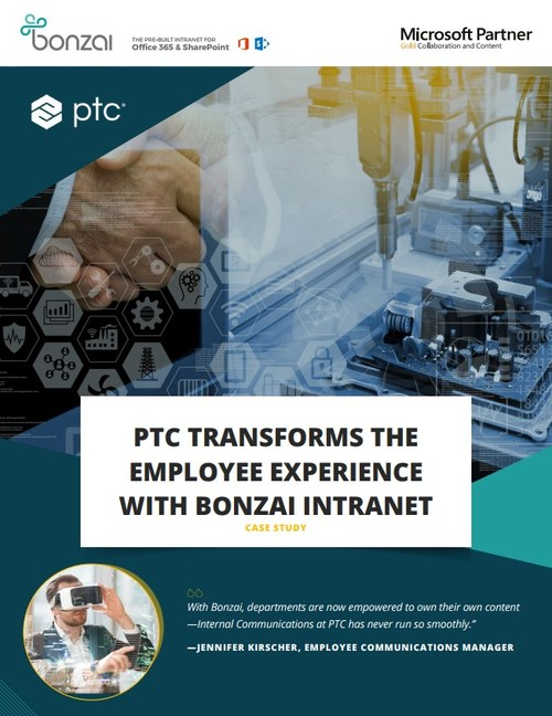 Within the case study you will find before and after transformation images of PTC's intranet.
