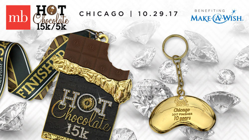 Ten exclusive diamond-trimmed golden race medals, valued at over $1000.00 a piece, and another 500 diamond keychains are at stake for runners signing up for the MB Chicago Hot Chocolate 15k/5k.