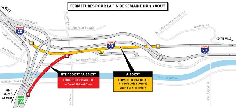 Projet Turcot à Montréal - Entraves majeures dans le secteur des échangeurs Saint-Pierre et Turcot durant la fin de semaine du 18 août 2017 (Groupe CNW/Ministère des Transports, de la Mobilité durable et de l'Électrification des transports)