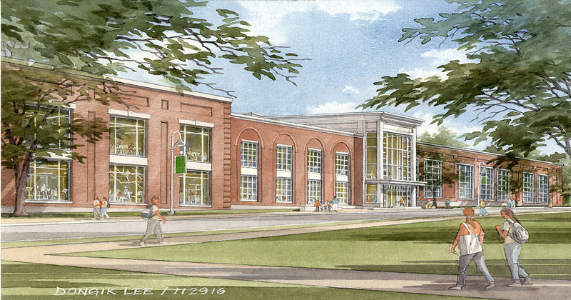 Rendering of new recreation and athletics center from Babson College Drive.