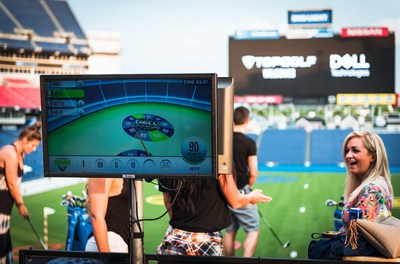 Toptracer technology available at Topgolf Crush allows players to see the flight path and distance of their shots.