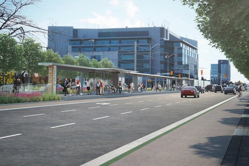 Rendering of Sir Lou stop along Hurontario LRT corridor (CNW Group/Infrastructure Ontario)