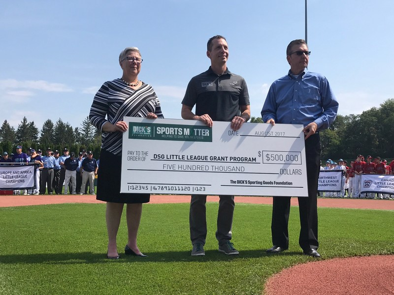 DICK'S Sporting Goods Foundation pledges $500,000 to support local Little League Baseball and Softball programs at the 2017 Little League World Series.