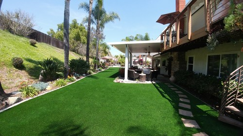 Artificial grass installation by Water Wise Grass.
