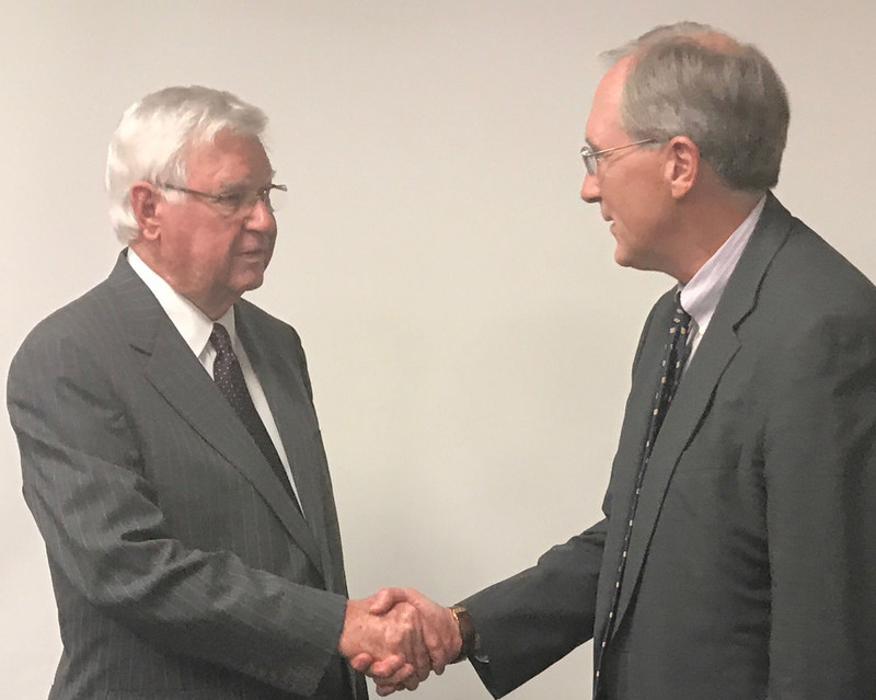Congressman Hal Rogers (left) is greeted by CSRA CEO Larry Prior (right) at CSRA's Barbourville Facility this afternoon.