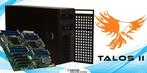 Raptor Computing Systems announces Talos II secure workstations, rack-mount development kits, mainboard bundles, and mainboards are now available on their website: www.raptorcs.com. The Talos product line, designed by Raptor Engineering, specializes in high performance, secure computing systems at an affordable price for business, academia, developers, and the general public who are committed to Linux or BSD platforms.