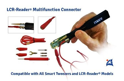 The LCR-Reader-MP becomes even more powerful when used with the LCR-Reader Probe Connector. The device becomes a complete probe station and can check waveforms at various nodes on the Printed Circuit Board. The LCR-Reader Probe Connector comes with five attachments for various applications; it allows LCR-Reader and Smart Tweezers to measure components larger than the allowable size between the tweezers' tips.
