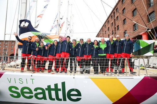 """The crew of the Visit Seattle, skippered by 24-year-old Nicola """"Nikki"""" Henderson, sets sail from Liverpool today in the 11th annual Clipper Round the World Race."""