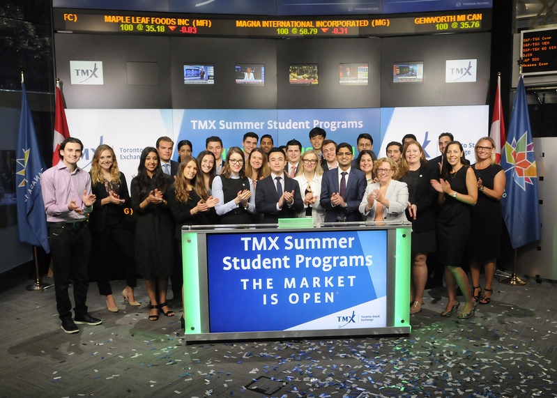 TMX Group summer students and summer associates joined Mary Lou Hukezalie, SVP Chief Human Resources Officer, TMX Group, to open the market. Summer hires work throughout the TMX Group organization with our professionals to gain experience, explore career options and gain valuable networking opportunities. The TMX offers a 16 week program for students who will be continuing their post-secondary education in the upcoming fall. We thank our summer hires for choosing TMX as an employer of choice and wish them all the best for their school year. (CNW Group/TMX Group Limited)