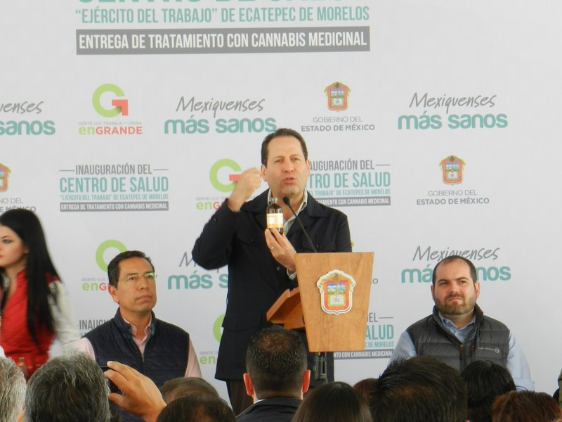 State of Mexico's governor Eruviel Avila holds RSHO-X CBD Hemp Oil at inauguration of new clinic in Ecatepec, where he announced that the states government purchased the product to treat citizens suffering from various indications