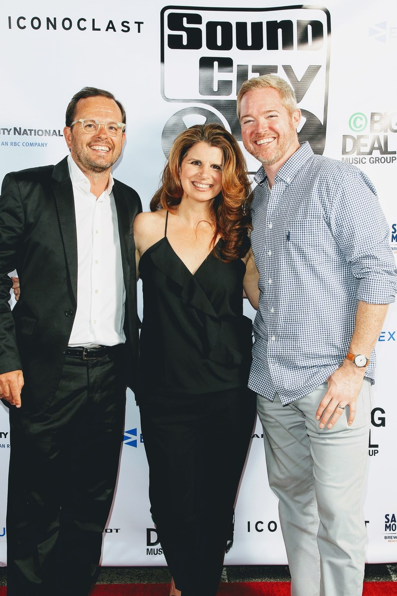 From left to right: Olivier Chastan, Founder and CEO of Iconoclast and Partner at Sound City Studios, Denise Colletta, SVP, City National Bank, and Mike Hurst, Co-founder and CEO of Exactuals (Photographer: Karl Larsen)