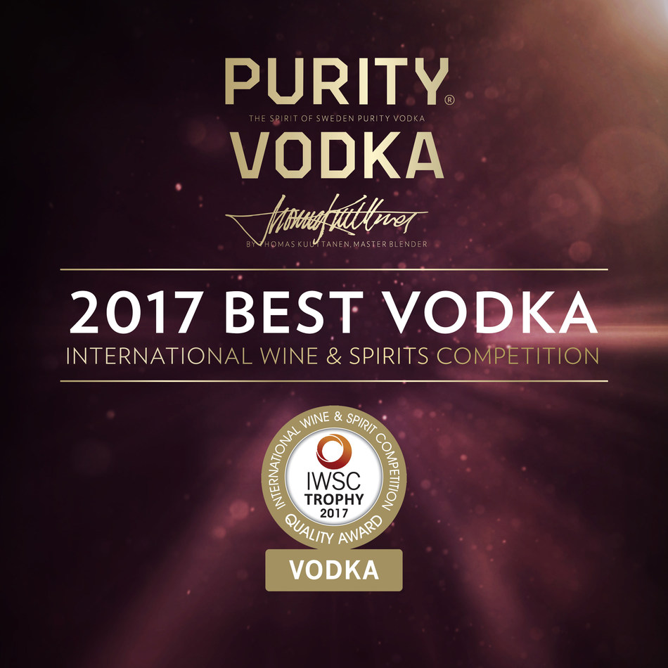 Purity Vodka Is Awarded The 2017 Best Vodka Trophy At The IWSC