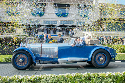 This 1929 Mercedes-Benz S Barker Tourer was named Best of Show at the 2017 Pebble Beach Concours d'Elegance. Pictured from left to right are Pebble Beach Company CEO William L. Perocchi, Concours Chairman Sandra Button, Emcee Derek Hill, restorer Stephen Babinsky, and owner Bruce R. McCaw. (Copyright © Kimball Studios / Courtesy of Pebble Beach Concours d'Elegance)