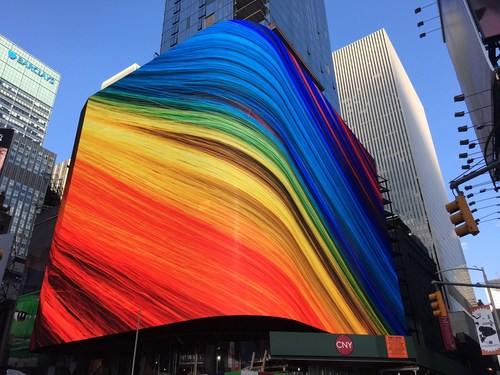 Wrap-around LED spectacular at 20 Times Square (701 7th Avenue), the highest-resolution display in the history of Times Square