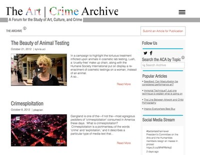 Art | Crime Archive web platform at artcrimearchive.net, 2017
