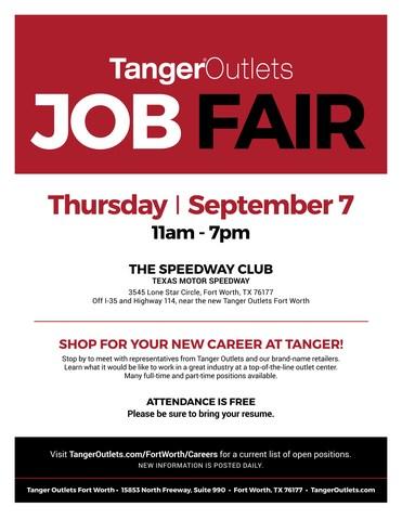 Tanger Outlets Job Fair Flyer