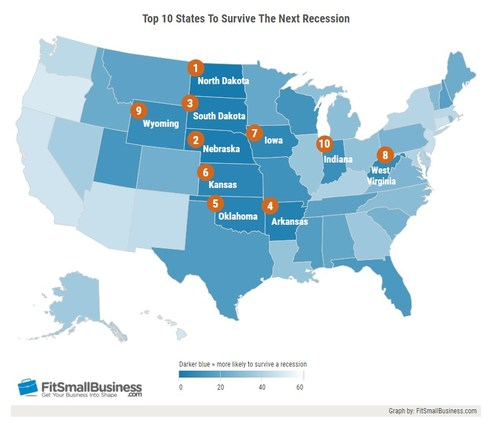 Best States to Survive a Recession Map: Fit Small Business