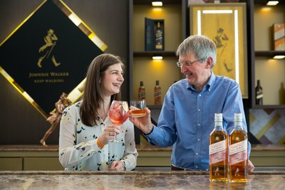Johnnie Walker blender Aimée Gibson a pictured with Johnnie Walker Master Blender Jim Beveridge at the Diageo World Class Bartender of the Year Final in Mexico City. Aimée led the development of Johnnie Walker Blenders' Batch Wine Cask Blend, which is being introduced at the prestigious cocktail competition this week and will be available in selected countries from September 2017. (PRNewsfoto/Johnnie Walker)