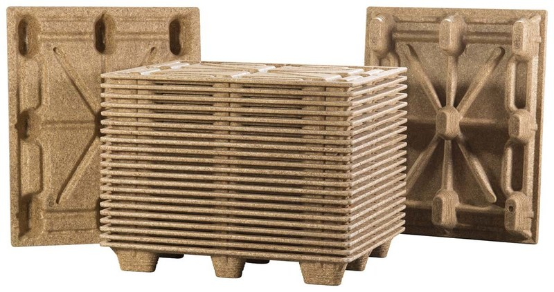 Litco Molded Wood Pallets; Top, Bottom, Stacked 25 High