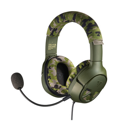 The Turtle Beach Recon Camo multiplatform gaming headset delivers unbeatable game and chat audio through large 50mm over-ear speakers with a WWII era camouflage and military green design to match gamers' passion. Available this Fall for $69.95
