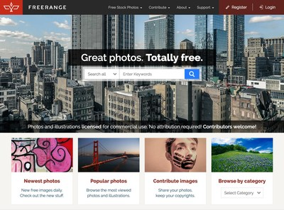 Redesigned Freerangestock.com homepage, with new search options and fully-responsive design.