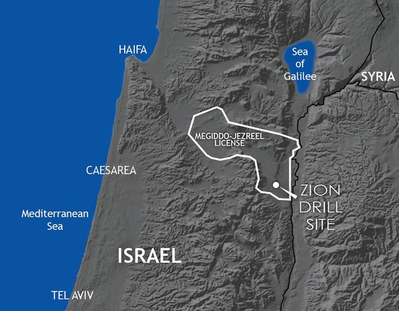 Zion Oil & Gas license area and drill site location in Israel.
