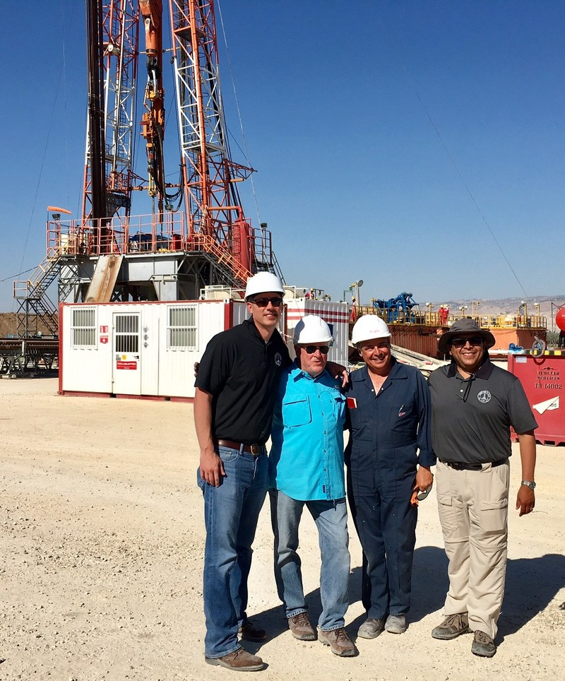 From left to right: Dustin Guinn (President), Dr. Lee Russell (Senior Geoscience Consultant), Angelo Bianco (Safety and Environmental Engineer), and Victor Carrillo (CEO) on location at the drill site in Israel.