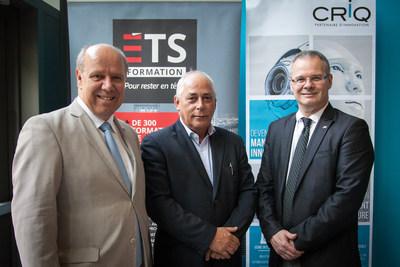 De gauche à droite : M. Pierre Dumouchel, directeur général de l'ÉTS, M. Denis Hardy, président-directeur général du CRIQ et M. France Maltais, directeur de ÉTS Formation. (Groupe CNW/Centre de recherche industrielle du Québec)